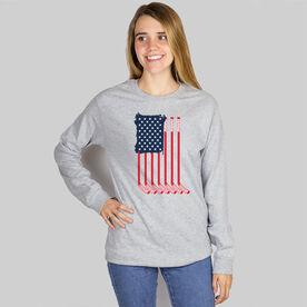 Hockey Long Sleeve T-Shirt - American Flag