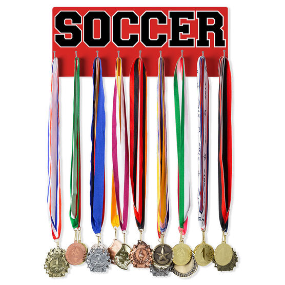 Soccer Hooked on Medals Hanger - Word