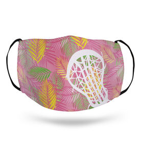 Girls Lacrosse Face Mask - Pink Palm Fronds
