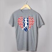 Running Short Sleeve T-Shirt - Patriotic Heart
