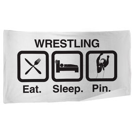 Wrestling Beach Towel Eat Sleep Pin
