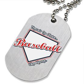 No Plate Like Home Baseball Printed Dog Tag Necklace