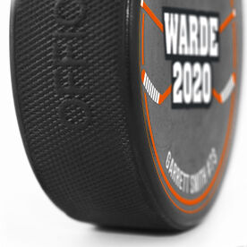 Personalized Hockey Puck - Your Text With Crossed Sticks