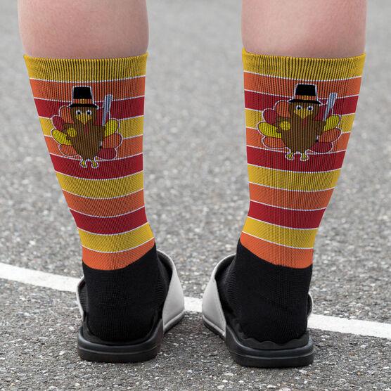 Softball Printed Mid-Calf Socks - Turkey with Stripes