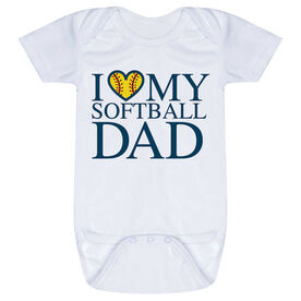 Softball Baby One-Piece - I Love My Softball Dad