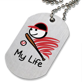 My Life Baseball Printed Dog Tag Necklace