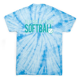 Softball Short Sleeve T-Shirt - I'd Rather Be Playing Softball Tie Dye