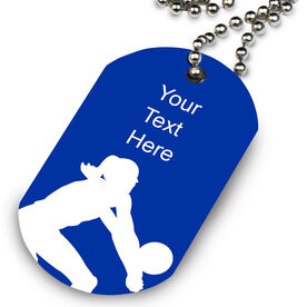 Female Player Silhouette Printed Dog Tag Necklace
