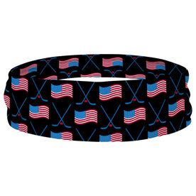 Hockey Multifunctional Headwear - Crossed Sticks and USA Flag Pattern RokBAND