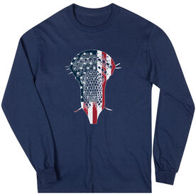 Guys Lacrosse Long Sleeve T-Shirt - Patriotic Stick
