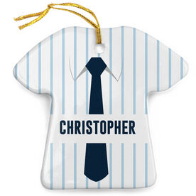 Personalized Porcelain Ornament - Striped Business Shirt Outfit