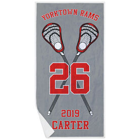 Guys Lacrosse Premium Beach Towel - Personalized Crossed Sticks Team