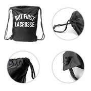 Lacrosse Sport Pack Cinch Sack - But First Lacrosse