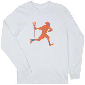 Guys Lacrosse Long Sleeve T-Shirt - Player Neon Orange