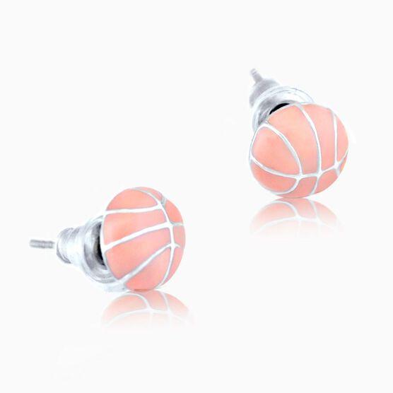 Pink Basketball Post Earrings (F1350-TLF)