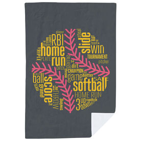 Softball Premium Blanket - Softball Inspiration Words