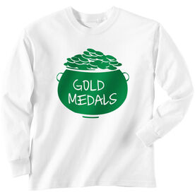 Wrestling Tshirt Long Sleeve Pot Of Gold Medals
