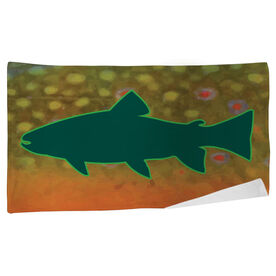 Fly Fishing Beach Towel Brook Trout with Silhouette