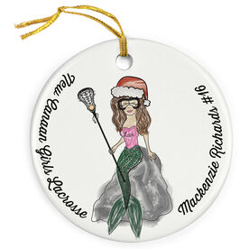 Girls Lacrosse Porcelain Ornament Mermaid