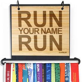 Engraved Bamboo BibFOLIO+™ Race Bib and Medal Display Run Your Name Run