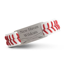 Authentic Baseball Leather Bracelet With Slider - Team Name with Crossed Bats