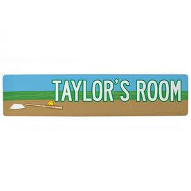 "Softball Aluminum Room Sign - Personalized Softball Room (4""x18"")"