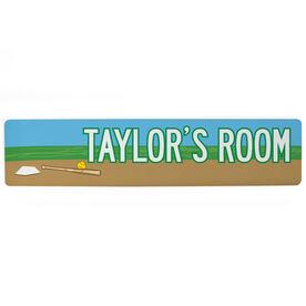 "Softball Aluminum Room Sign - Personalized Softball Room (4""x18"")"