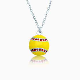 Enamel Softball with Red Rhinestones Necklace