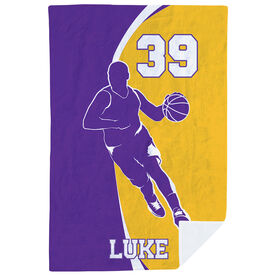 Basketball Premium Blanket - Personalized Guy With Big Number