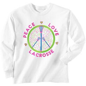 Girls Lacrosse Long Sleeve T-Shirt - Peace Love Lacrosse Flowers