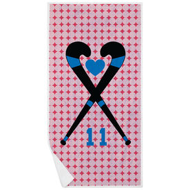 Field Hockey Premium Beach Towel - Personalized Crossed Sticks Heart Dots