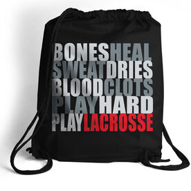 Guys Lacrosse Sport Pack Cinch Sack Bones Saying