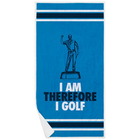 Golf Premium Beach Towel - I Am Therefore I Golf