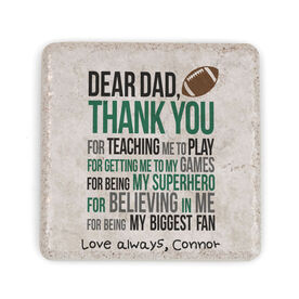 Football Stone Coaster - Dear Dad (Autograph)