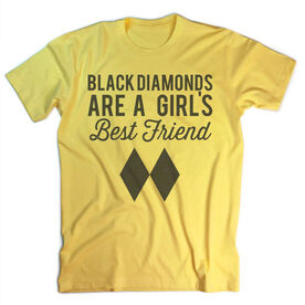 Skiing & Snowboarding Vintage T-Shirt - Black Diamonds Are A Girl's Best Friend