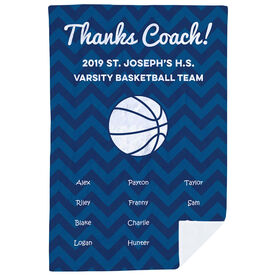 Basketball Premium Blanket - Personalized Thanks Coach Chevron