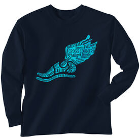 Cross Country Youth T-Shirt Long Sleeve Winged Foot Inspirational Words