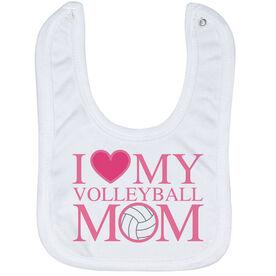 Volleyball Baby Bib - I Love My Volleyball Mom