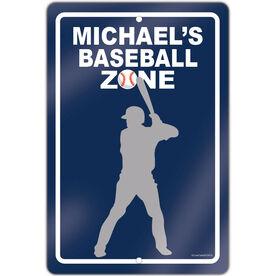 "Baseball Aluminum Room Sign Personalized Baseball Zone (18"" X 12"")"