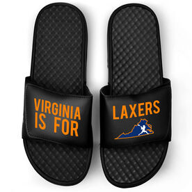 Guys Lacrosse Black Slide Sandals - Virginia Is For Laxers