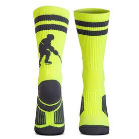 Hockey Woven Mid-Calf Socks - Player (Neon/Gray)