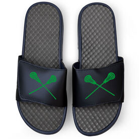 Guys Lacrosse Navy Slide Sandals - Crossed Sticks