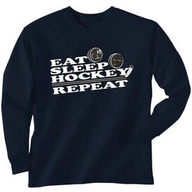 Hockey Tshirt Long Sleeve Eat Sleep Hockey Repeat