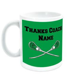 Guys Lacrosse Coffee Mug Thanks Coach Crossed Sticks