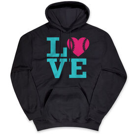 Softball Hooded Sweatshirt - LOVE Softball Pink Teal