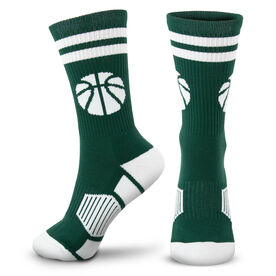 Basketball Woven Mid-Calf Socks - Ball (Green/White)
