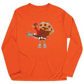 Guys Lacrosse Long Sleeve Performance Tee - Top Cheddar Turkey Tom