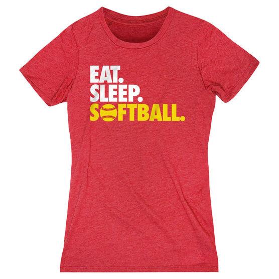 Softball Women's Everyday Tee - Eat. Sleep. Softball.