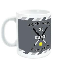Softball Coffee Mug Personalized Player with Crossed Bats