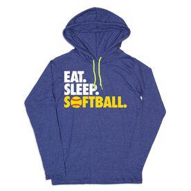 Women's Softball Lightweight Hoodie - Eat Sleep Softball